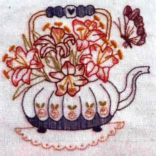 Teapot of Lillies By Bronwyn Hayes  Kit includes DMC stranded cotton, calico, transfer paper, embroidery needle and all instructions.  Stitched area is 14 cm x 14 cm  Could be used as a picture, cushion top, or panel in a quilt.