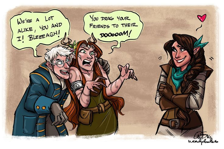 Percy and Keyleth lightening the mood for Vex because friendship.