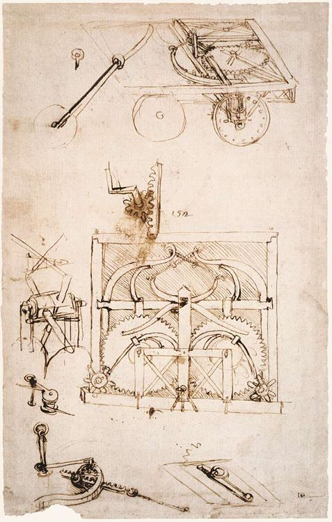 Notebook pages of Leonardo's concerning engineering projects.