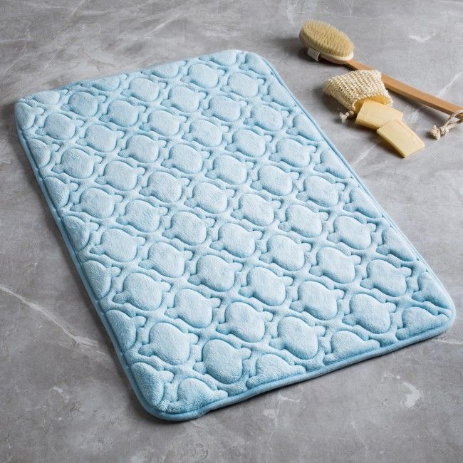 Keep your feet off of cold bathroom tiles when you step out of the shower or bath. This soft and absorbent memory foam mat features a non-slip backing that grips your bathroom tile and prevents accidental falls.