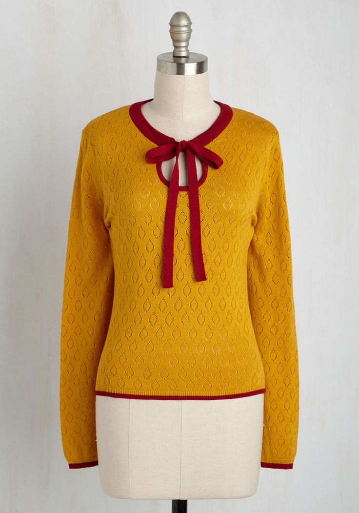 Antique Market Maven Sweater. You have a savvy system in place for scoring vintage finds, and youre a vision of retro loveliness while shopping in this mustard sweater! #yellow #modcloth