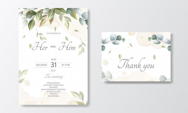 Wedding Invitation Card Template Set With Beautiful Floral Leaves In 2021 Wedding Invitation Cards Wedding Invitation Card Template Free Wedding Cards