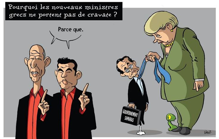 """The Greek word for """"tie"""" is ΓΡΑΒΑΤΑ...Not a Greek invention, so they took a French word..and some ministers decided not to wear them anymore! :) http://www.omilo.com/new-finance-minister-of-greece-yanis-varoufakis/"""