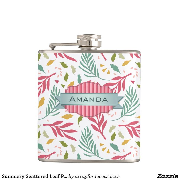 Scattered leaves in rose pink and shades of green and gold are the Hawaiian-flavored background for a beautiful banner label to hold your name or other text on this cheerful hip flask design. Search ID387 to see other products with this pattern.