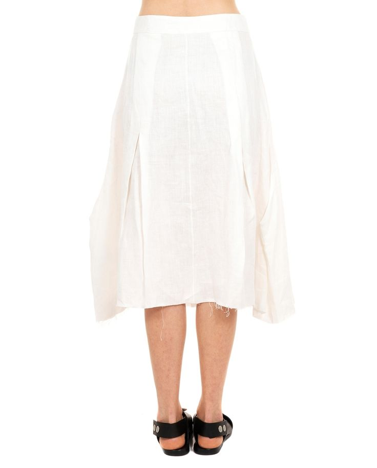 A TENTATIVE ATELIER LINEN SKIRT S/S 2016 Linen skirt with front buttoning calf length front darts raw cut seam  unlined 100 % Linen specialized wash