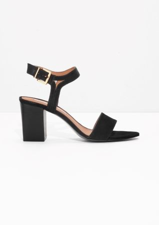 & Other Stories image 1 of Suede Ankle Strap Sandalettes in Black