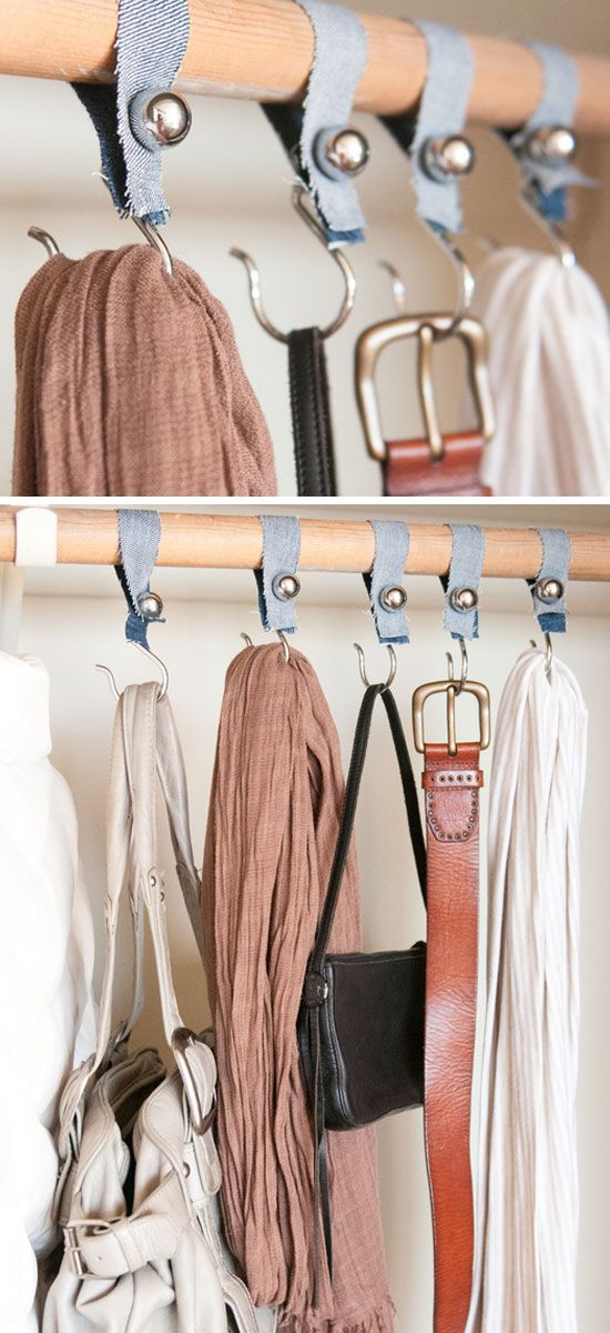 Shower Hook Closet Organizers | DIY Home Decorating Projects | Click for Tutorial | DIY Home Decorating on a Budget
