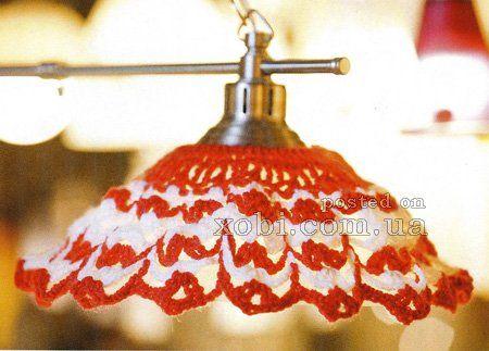 красно-белый абажур вязаный крючком