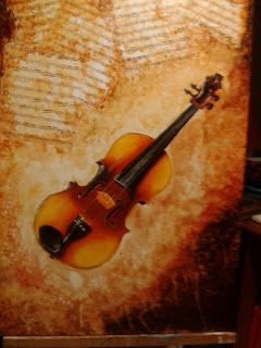 Ever since I could remember, I've always loved classical music - in particular violin music pieces. This painting is inspired by this beautiful instrument and one of my favourite,... favourite classical pieces: Largo Ma Non Tanto by JS Bach from his famous Violin Concerto for Two Violins and Strings.