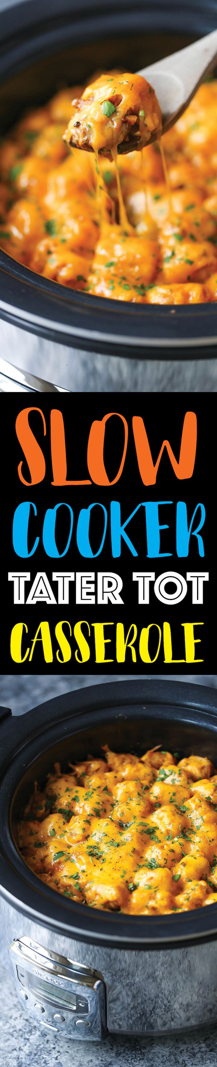 Slow Cooker Tater Tot Casserole - An absolute crowd-pleaser! Loaded with ground beef, cheese and everyone's fave: TATER TOTS! Made in the crockpot! EASY!!!