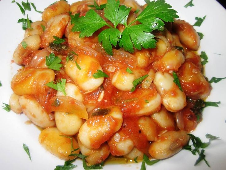 Giant beans with tomato sauce.