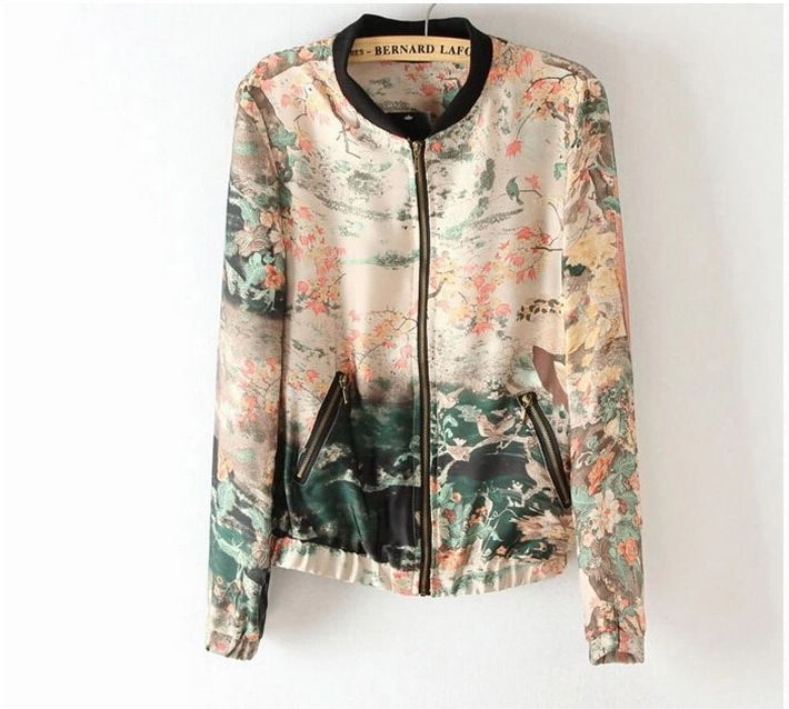 Chaqueta Mujer 2015 Spring Floral Bomber Jacket Women Vintage Print Zipper Jackets Long Sleeve Abrigos Mujer Cardigan Coat B1578-in Basic Jackets from Women's Clothing & Accessories on Aliexpress.com | Alibaba Group
