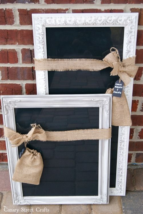 Dry erase board made from an old frame and black paint.  Use a chalk marker to give the look of a chalkboard without the chalk dust mess.  (We're selling these in our booth, so the little burlap bags are holding a chalk marker and eraser.)  {Canary Street Crafts}