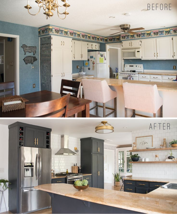 DIY Before and After Kitchen with open shelving, white tile, lewis dolin bar pulls, dark cabinets and white oak flooring