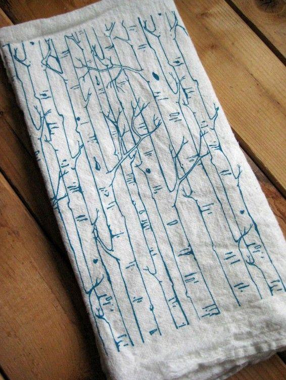 Tea Towel - Screen Printed Organic Cotton Birch Tree Flour Sack Towel - Soft and Absorbent Dish Towel. $10.00, via Etsy.