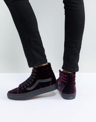 f288f9a93ea Vans Sk8-Hi Unisex Sneakers In Purple Velvet  NaotWomensShoes