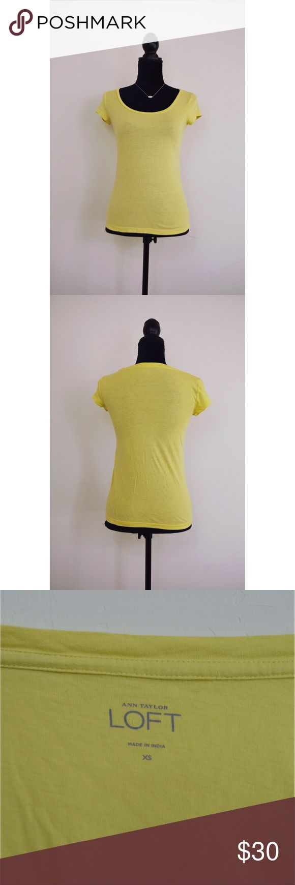 Anne Taylor LOFT Scoop Neck Tee This lightweight Ann Taylor LOFT yellow tee is the perfect addition to any summer wardrobe! Scoop neck, 60% cotton, 40% modal. Measurements available upon request. LOFT Tops Tees - Short Sleeve