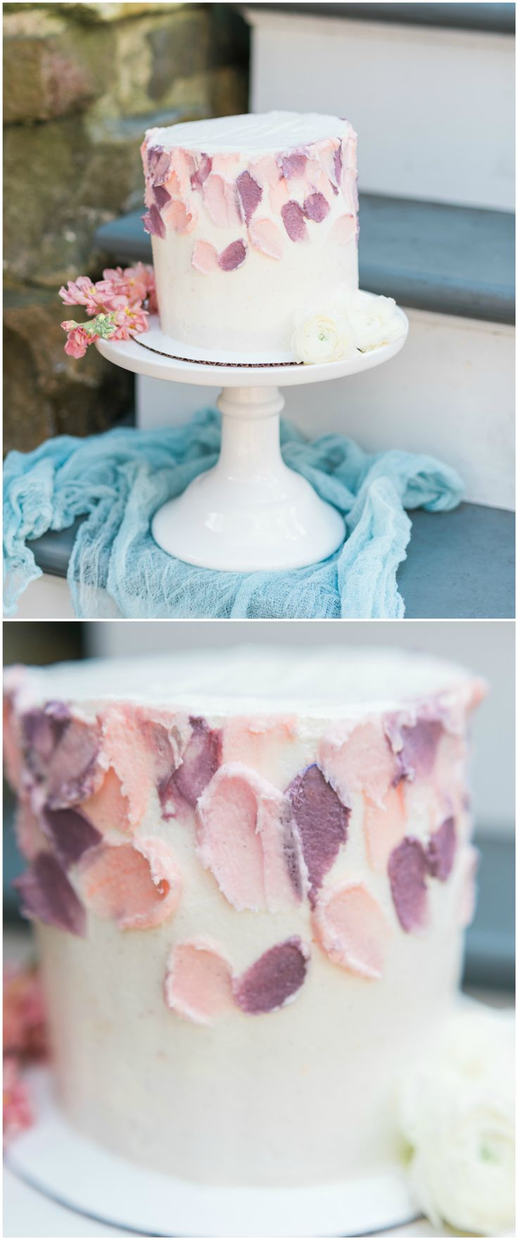 Petite wedding cake, white buttercream, pastel pink and purple // Rae Marshall Photography