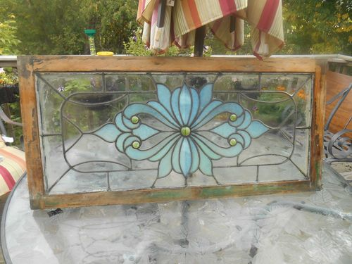Antique Stained Glass Window Set Teal 5 Yellow Jewels Art Noveau 1890's Galena   eBay