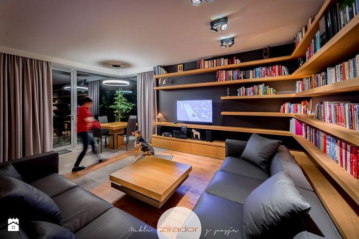 Meble do nowoczesnego domu - Średni salon z bibiloteczką z jadalnią, styl nowoczesny - zdjęcie od Zirador - Meble tworzone z pasją