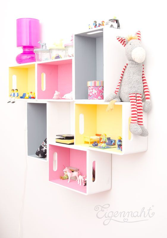 colorful diy shelves with simple wooden boxes...