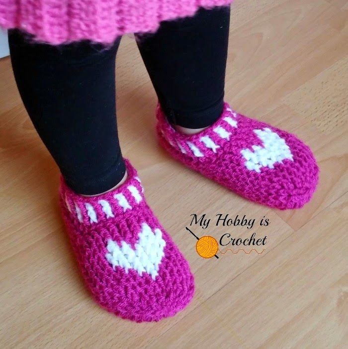 Free Crochet Pattern:Heart & Sole Slippers | Small Child Size |Written Instructions & Graph | My Hobby is Crochet: