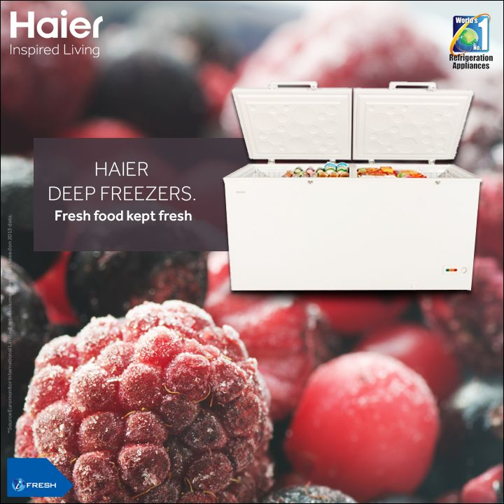 The super freeze function in #Haier's #DeepFreezer attains desired temperature quickly. Now store all your favourite #food without worries.