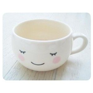 Cream Color Close eyes Kawaii Cute Big Coffee Cup/ Soup Mug