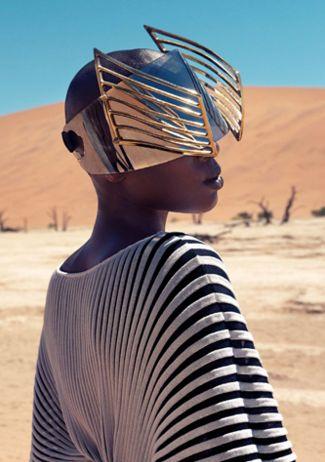 "Narcisse Magazine ""Those Without Shadows"" desert fashion editorial, gold visor"