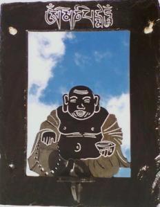 Buddha  (Om Mani Padme Hum) Slate on Mirror  61 cm  x 40.5cm
