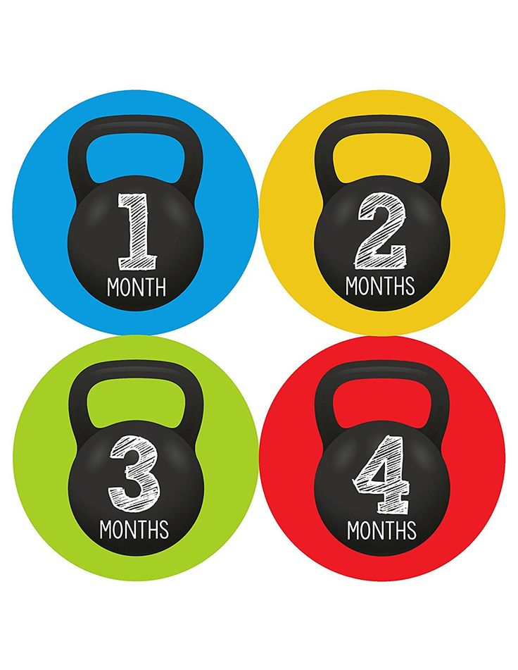 Months In Motion - Baby Month Stickers - Monthly Baby Sticker for Boys - Milestone - Workout Kettebell (1201)