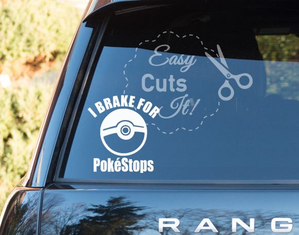 I brake for pokestops car decal