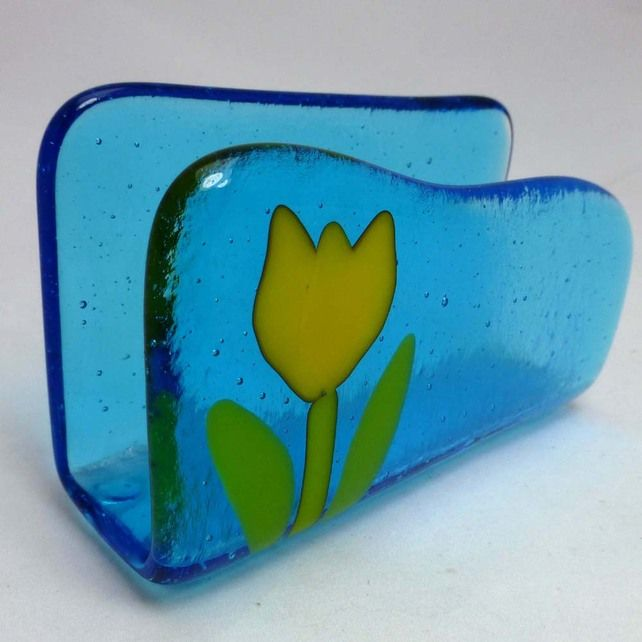 Yellow Tulip on Turquoise Fused Glass Business Card Holder by Sugar Lips Glass at Folksy.com