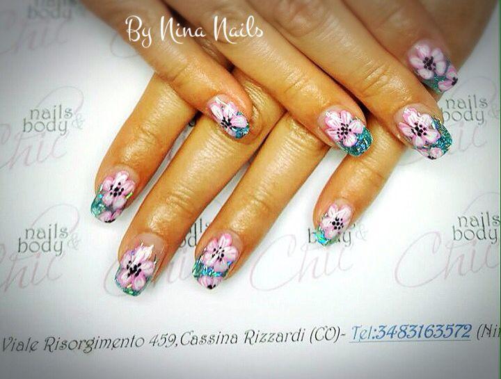 Favori Oltre 25 idee di tendenza per Unghie con fiori su Pinterest  EK56
