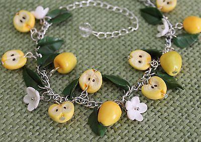 Jewelry Bracelet /Yellow Apples / Handmade / gift / Polymer clay