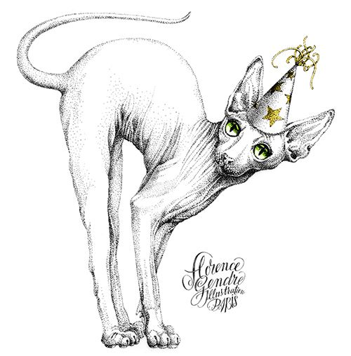 Illustration chat Sphynx Florence Gendre #illustration #chat #sphynx #tattoo #pointillism