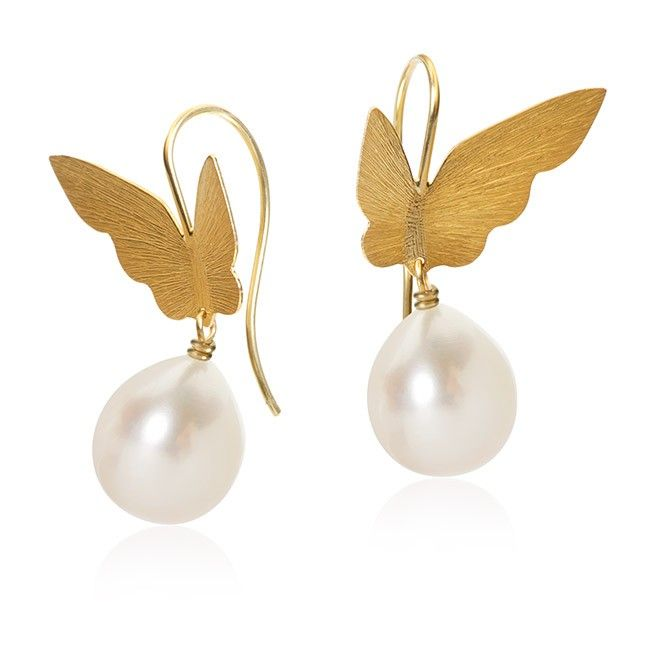 Butterfly pearl øreringe. Guld 18 K med ferskvandsperler