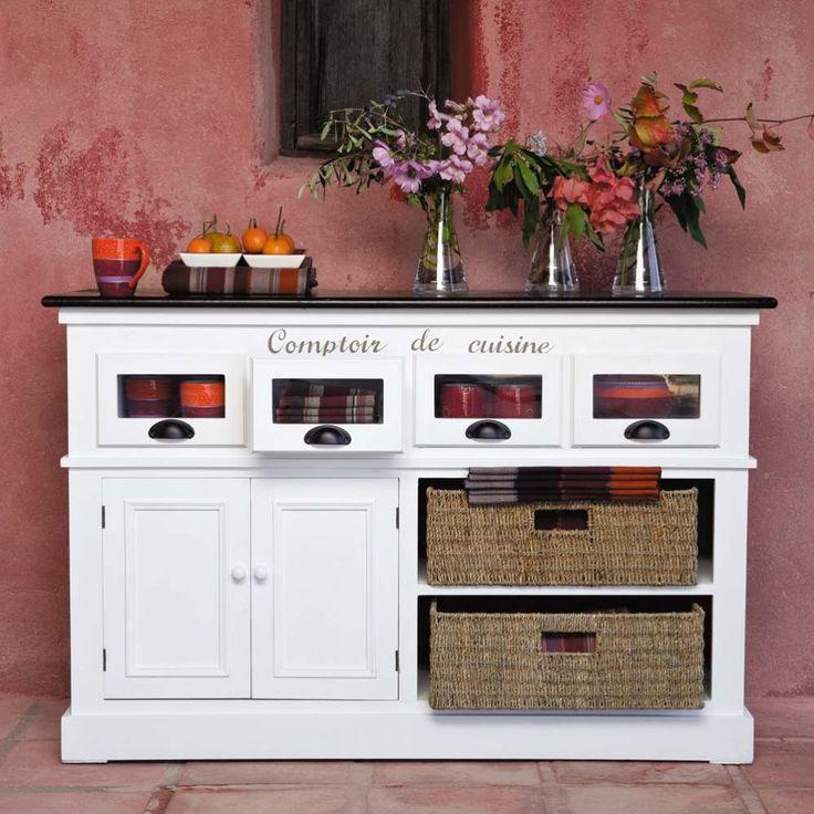 Comptoir en bois de paulownia blanc L 130 cm Comptoir des épices   Maisons du Monde