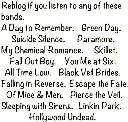 Green Day, My Chemical Romance, Falling in Reverse, Black Veil Brides, Escape the Fate, Fall Out Boy