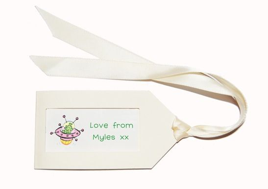 Our Tags have been designed with the vintage luggage tag in mind, using a lovely cream relief card on the tag with a white interior window featuring your chosen artwork. Your tags come with a length of cream Satin Ribbon = 55cm per tag allocated, and a 'how to tie' and measure guide. Size:   12 x 6 cm