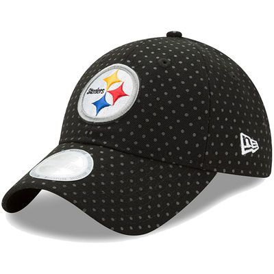Women's New Era Black Pittsburgh Steelers Dotted Shine 9TWENTY Adjustable Hat