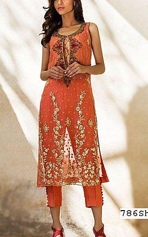 Peach Crinkle Chiffon Suit | Buy Designer Party Dresses