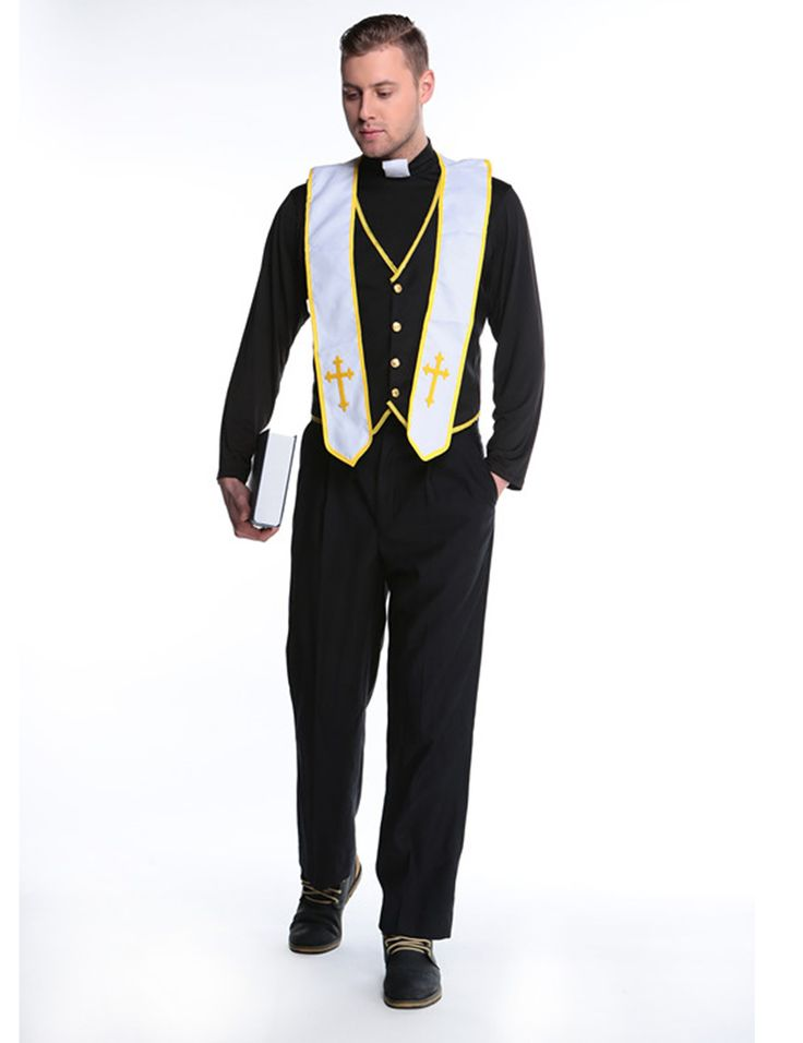 Men Jesus Priest Clergyman Fancy Dress Outfit Adult Costume Cosplay Drama Halloween Decor Gift