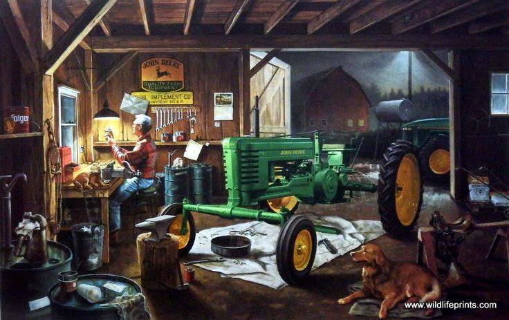 In Charles Freitag's print RESTORATION, looks like Grandpa is changing the oil in the old John Deere Tractor. He is obviously a fan--look at all of the Deere advertising. This print comes in two diffe