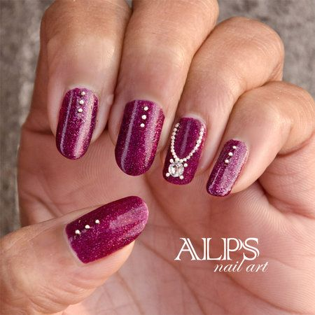 Jewel nails by Alpsnailart #polish #burgundy #nailart - bellashoot.com -  Not a fan of the color though.