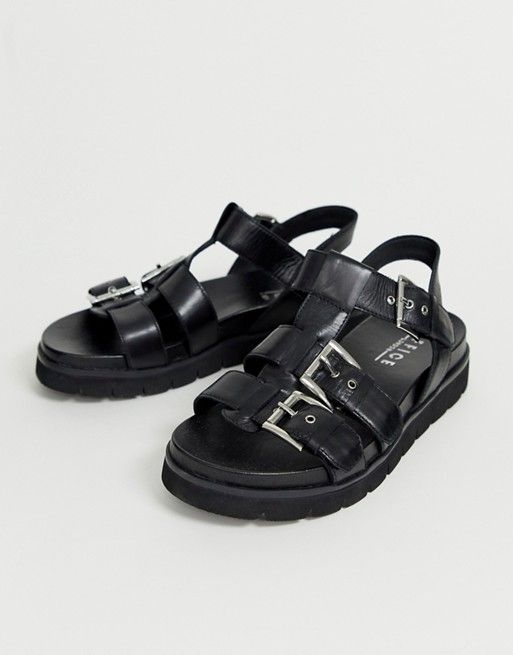 9598daea10c8d Office Sabrina black leather flat buckle sandals in 2019 ...