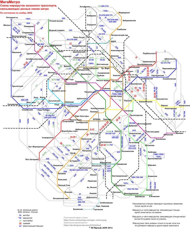 Автобусы между станциями метро в Москве.