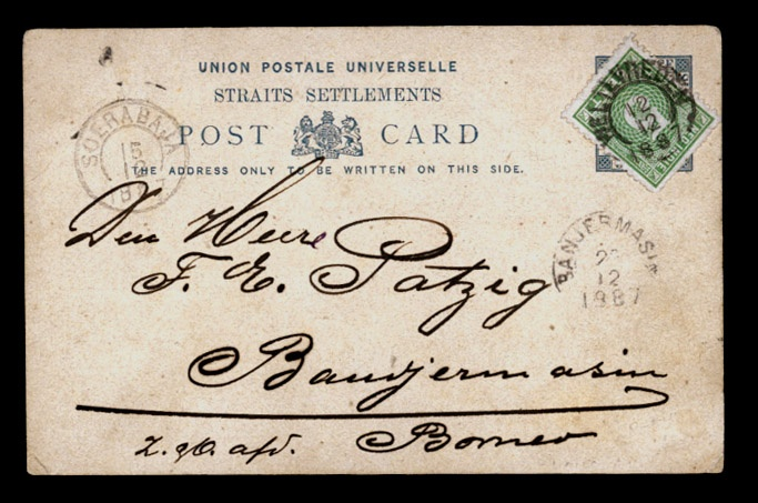 1887 (10 Dic). Straits Settlements 3c card written from Pº (Penang/Pulan Pinang) and crossed over to Weltevreden (12 Dic) where franked also with Dutch Indies 5c green, tied cds via Soerabaja (15 Dic), and arriving to Borneo/Banjermasin on the 23 (?) Dic 1887. An extraordinary scarce usage from a Malayan outpost with combination of a Dutch stamp.  US$2500.00