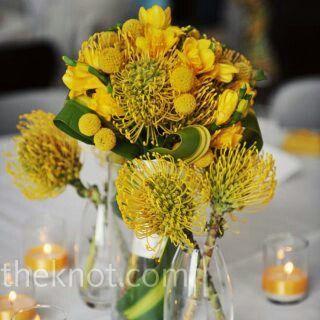 Yellow centerpieces,  medium& short height