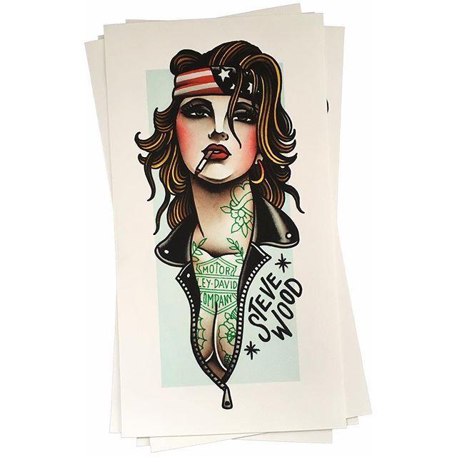 Stevewood soos biker girl no 1 printcult for Biker chick tattoos